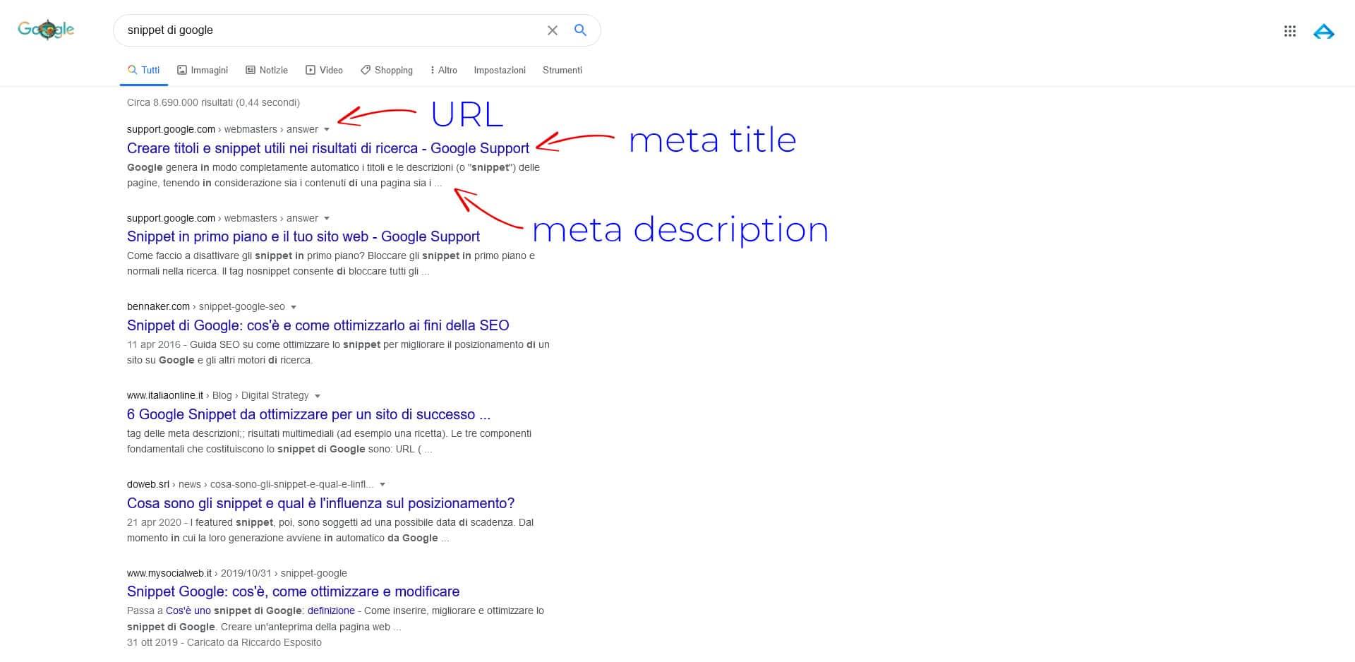 Snippet pagina Google