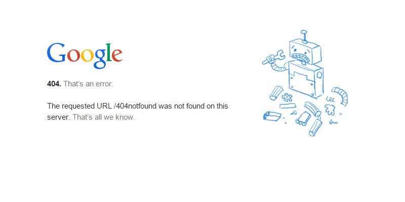 Pagina Google errore 404