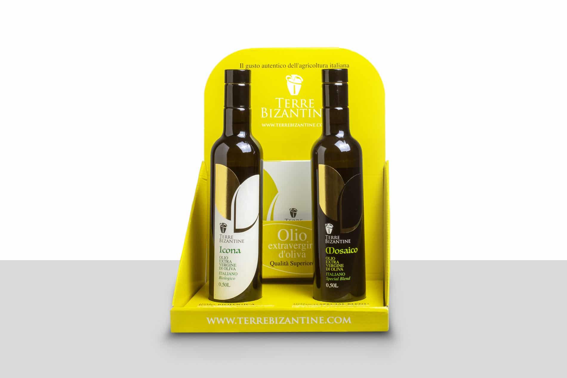 Epositore da banco bottiglie di olio Terre Bizantine con porta depliant